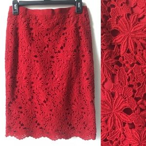 New dark red lace pencil skirt